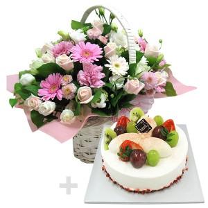 케익+꽃바구니5호