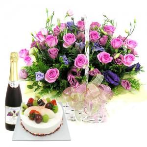 케익+샴페인+꽃바구니