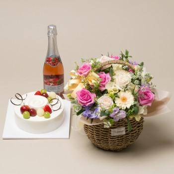 케익+샴페인+꽃바구니 2호